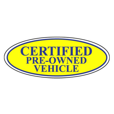 Certified Pre-Owned Vehicle Oval Sign {EZ196-C}