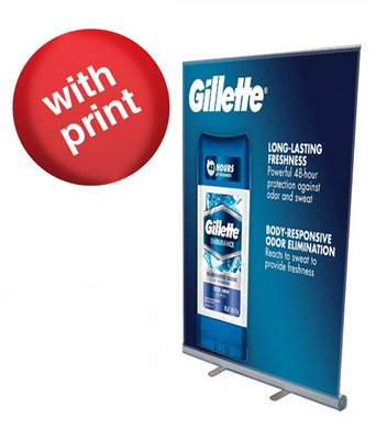 """Retractable Roll Up Banner Stand 45"""" with Vinyl Print"""