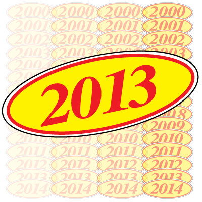 Red & Yellow Oval Year Model {EZ198-R}