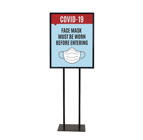 """Face Mask - Poster Sign Holder Floor Stand 22"""" x 28"""" with Print"""