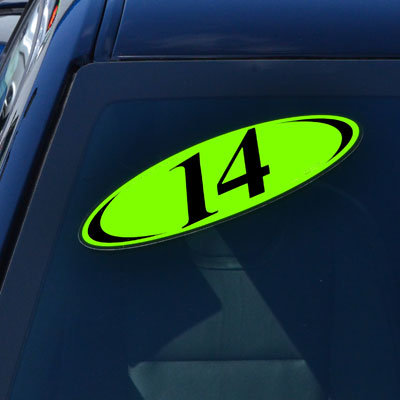 Chartreuse & Black Two Digit Oval Year Model {EZ225-C}