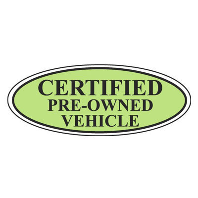 Certified Pre-Owned Vehicle Oval Sign {EZ196-E}