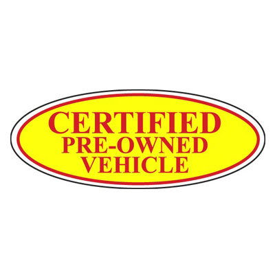 Certified Pre-Owned Vehicle Oval Sign {EZ196-D}