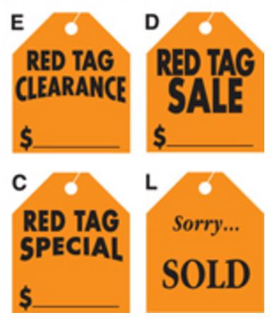 Large Red Rearview Mirror Tags {EZ203}