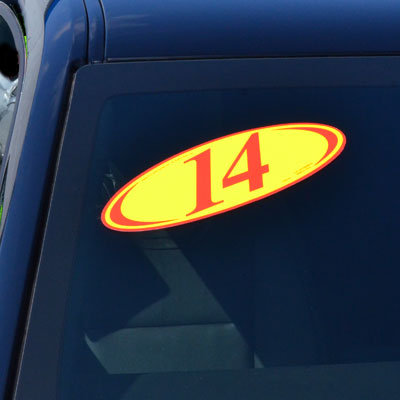 Red & Yellow Two Digit Oval Year Model {EZ225-R}