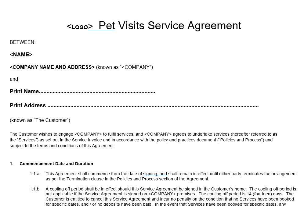 Pet Visits Service Agreement Template Form
