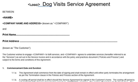 Dog Home Visits Service Agreement Template
