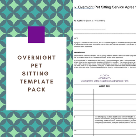 Overnight Pet Sitting Template Pack