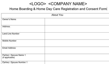 Home Boarding Registration Form