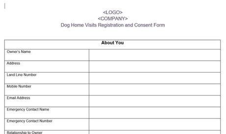 Dog Home Visits Registration Form Template