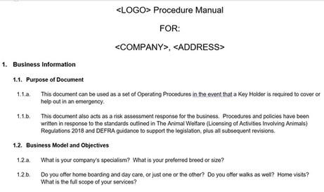 Home Boarding Procedure Manual