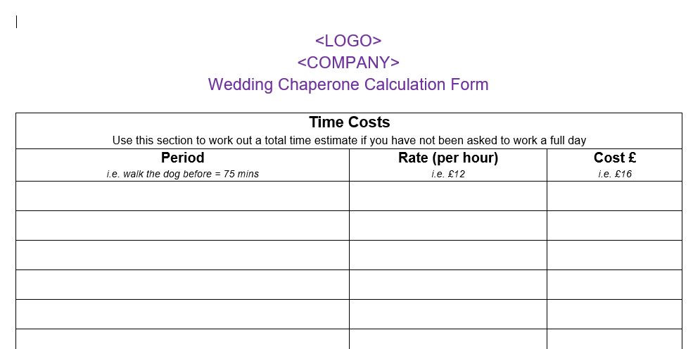 Dog Wedding Chaperone Cost Calculator