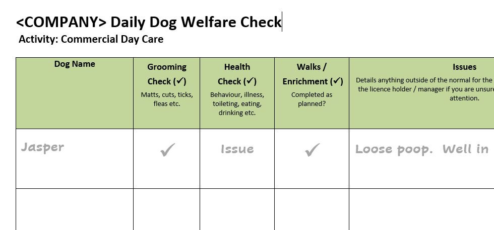 Daily Dog Welfare Check Template
