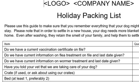 Home Boarding Packlist