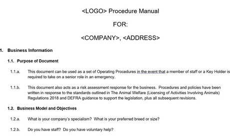 Commercial Day Care Procedure Manual Template
