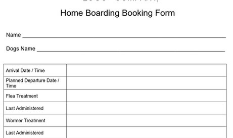 Home Boarding Booking Form