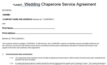Wedding Chaperone Dog Service Agreement