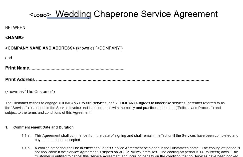 Wedding Chaperone Dog Service Agreement