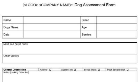 Home Boarding New Dog Assessment Form