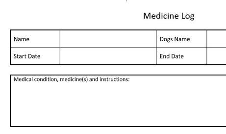 Dog Medicine Record
