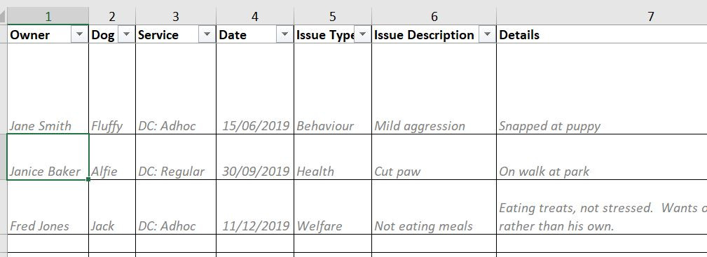 Dog Welfare Log Template
