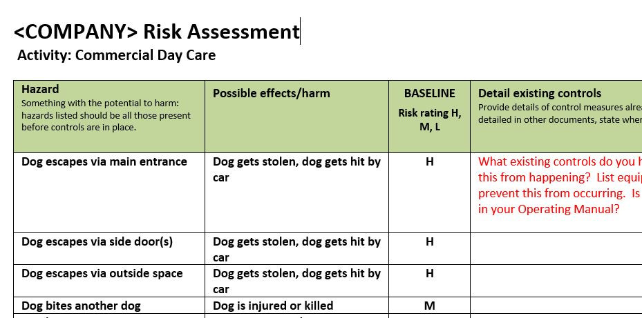 Day Care Risk Assessment