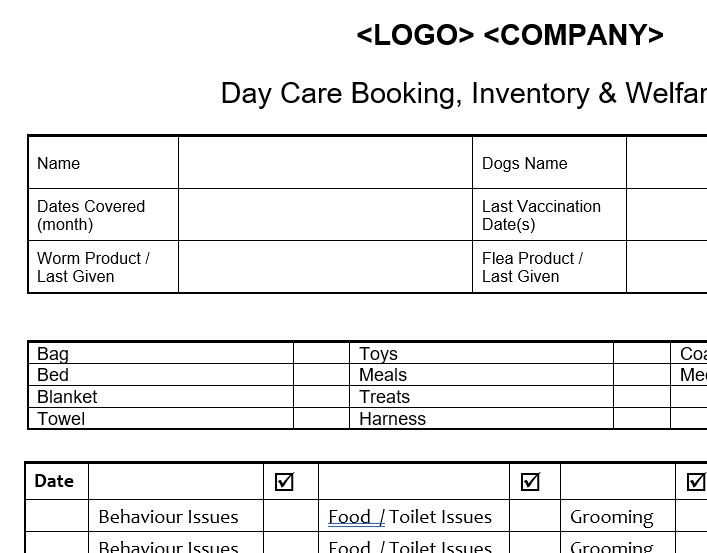 Home Day Care Monthly Booking Form