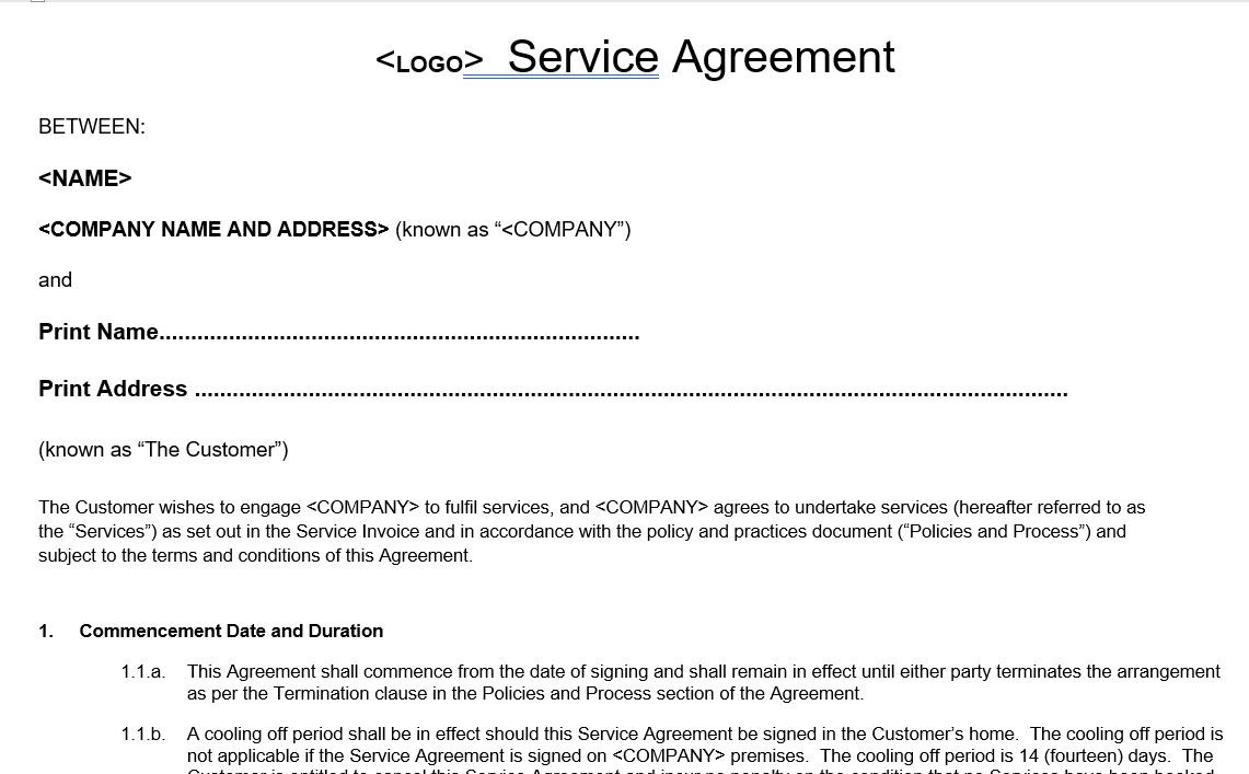 Day Care Service Agreement