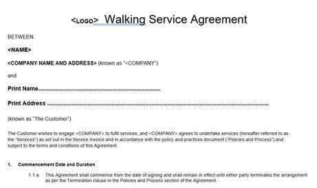 Dog Walker Service Agreement