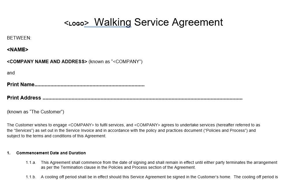 Dog Walker Service Agreement