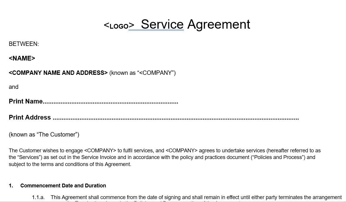 Home Boarding Service Agreement