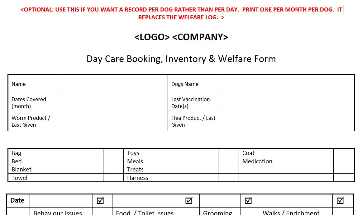 Paper Day Care Booking and Welfare Form (Optional)