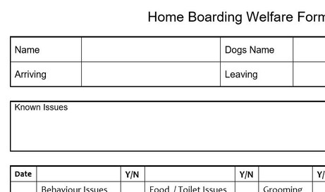 Home Boarding Day Care Booking Form