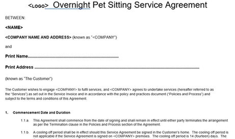 Overnight Pet Sitter Service Agreement Template Form