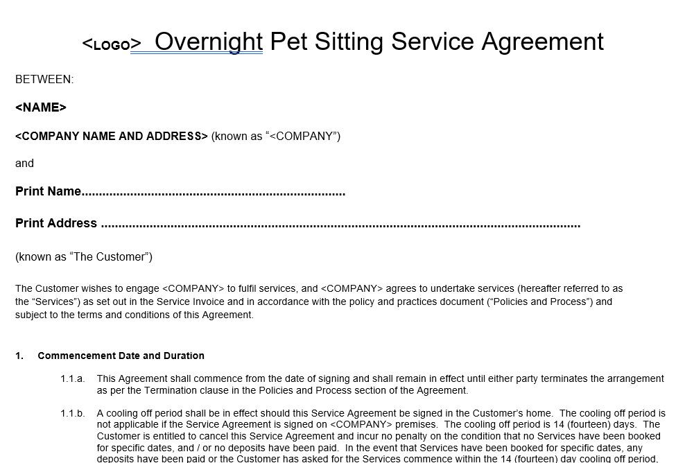 Overnight Pet Sitter Service Agreement Template Form