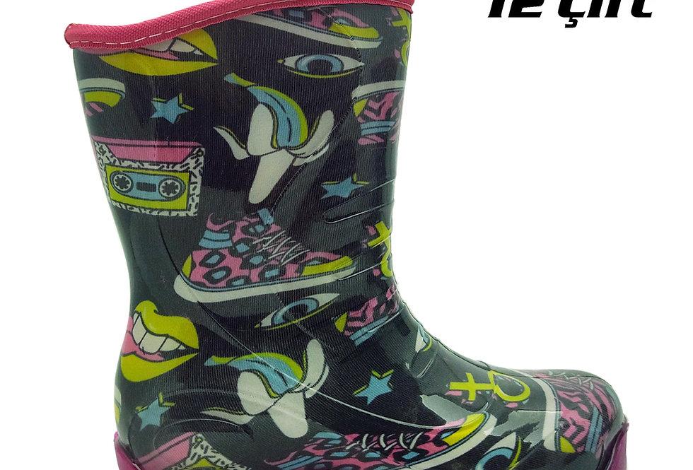 105 - PVC Çocuk Yağmur Çizmesi - Retro