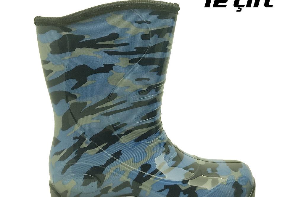105 - PVC Çocuk Yağmur Çizmesi - Kamuflaj Mavi