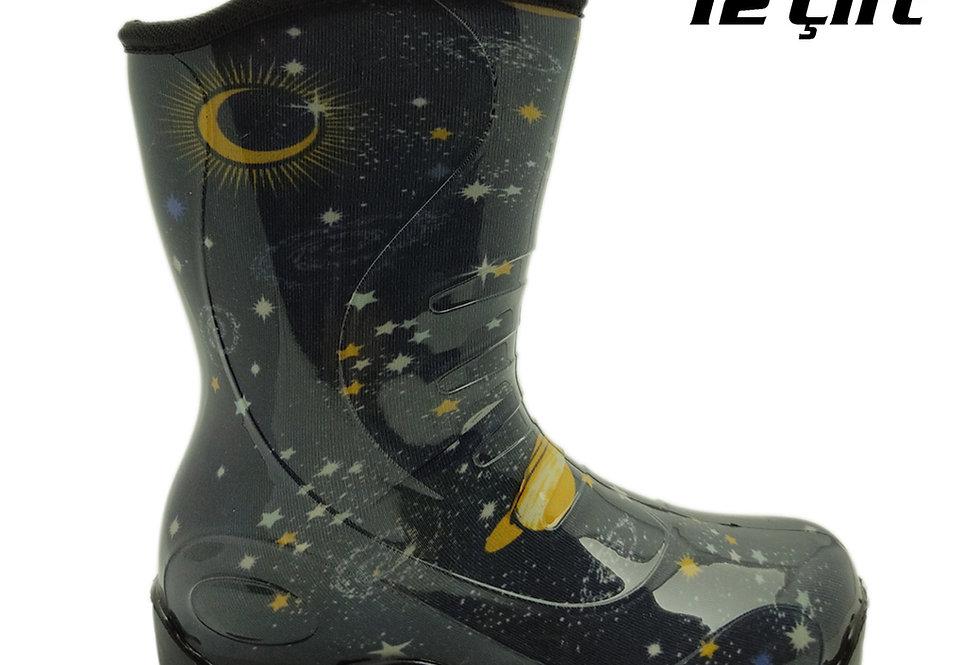 105 - PVC Çocuk Yağmur Çizmesi - Uzay