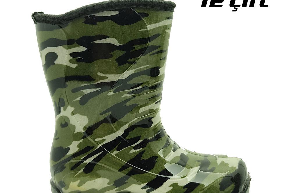 105 - PVC Çocuk Yağmur Çizmesi - Kamuflaj