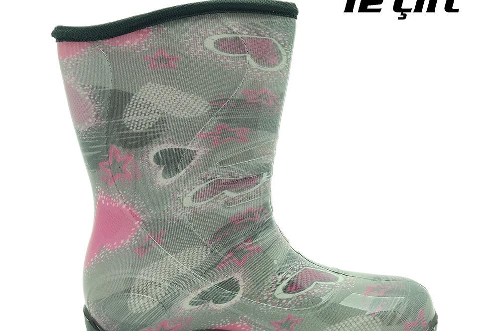 105 - PVC Çocuk Yağmur Çizmesi - Kalp