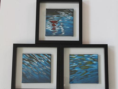 Water Studies Set of 3 Framed 6X6FS1
