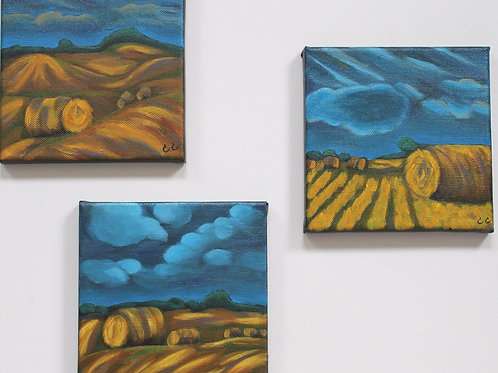 Prairie Bales Set of 3 6X6CS1