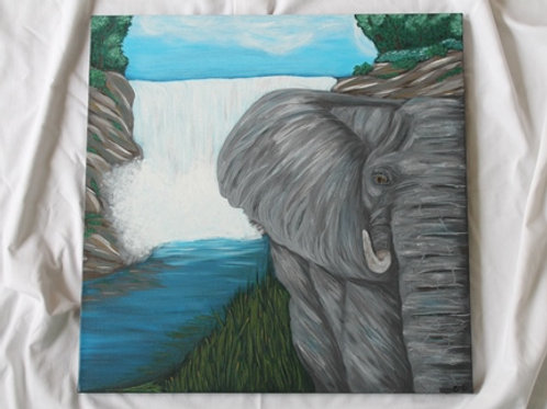 ELEPHANT AND WATERFALL