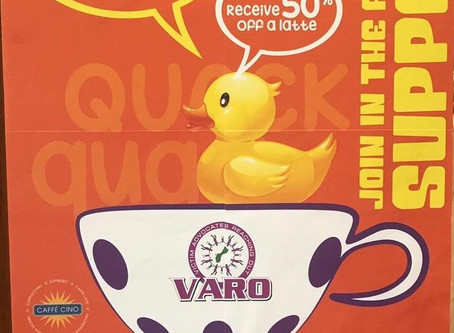 Sponsor a duck and receive 50% off your latte at Hilton's Café Cino