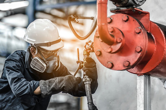 Service engineer working at industrial .