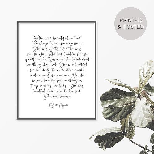 She Was Beautiful, F.Scott Fitzgerald Print