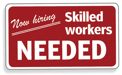 red sign Skilled workers needed