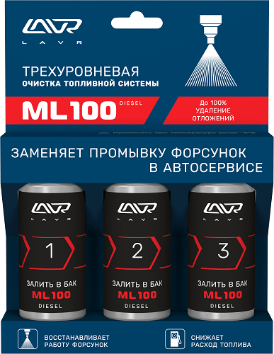 Трехуровневый очиститель топливной системы ML100 DIESEL, 3х120 мл/LN2138