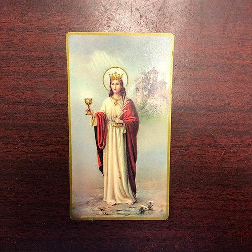 St. Barbara prayer card