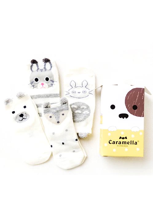 韓國親子全棉短山襪 (一盒四對)